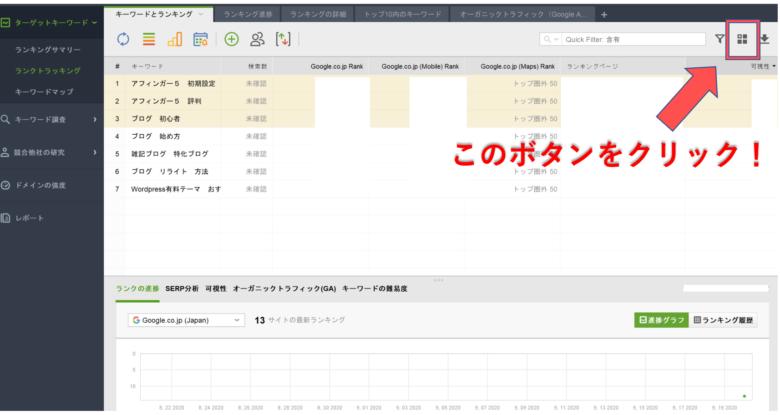 Rank Tracker_表示タブのカスタマイズ